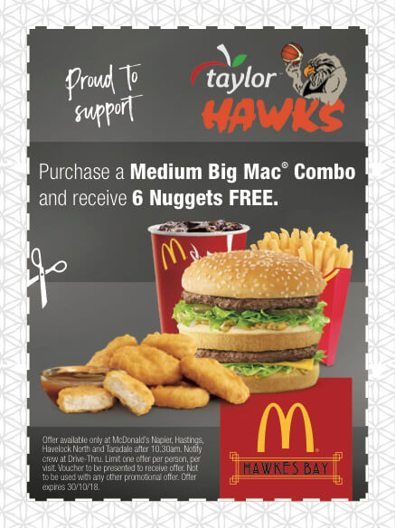 Hawks Coupon for McDonalds - 6 Nuggets FREE with med Big Mac Combo